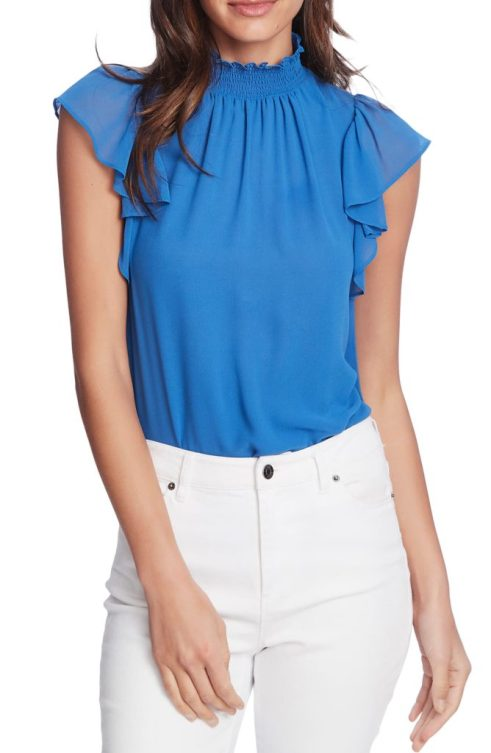 1.SLATE - blue mock neck with flutter cap sleeves