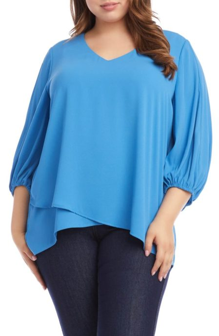 Karen Kane - baby blue 3/4 sleeve top