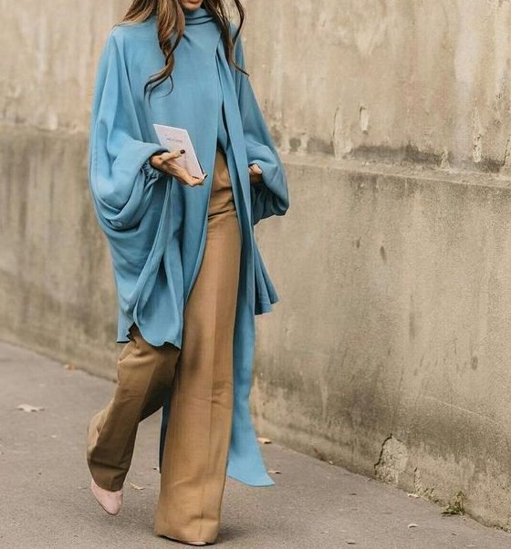 Artistic - light blue draped sweater with khaki wide leg trousers