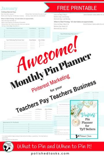 Monthly Pin Planner for Teachers Pay Teachers Pinterest Marketing