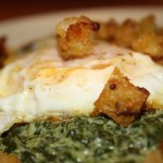 Creamed Spinach and Egg with Mustard Croutons