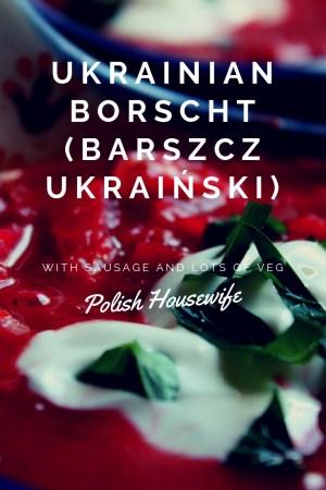 close up of beet soup, Ukranian Borscht in Polish pottery soup bowl