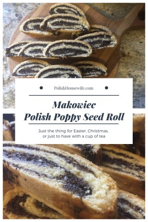 collage of Polish poppy seed roll makowiec