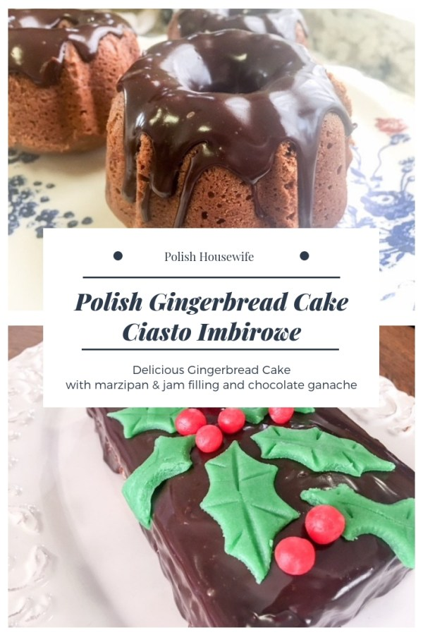 gingerbread cakes filled with jam and marzipan topped with ganache