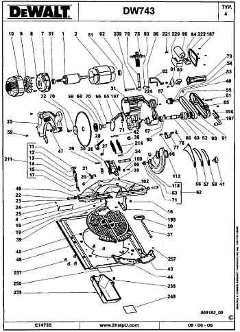 image of a user manual for a flip over saw, the dw743 from dewalt