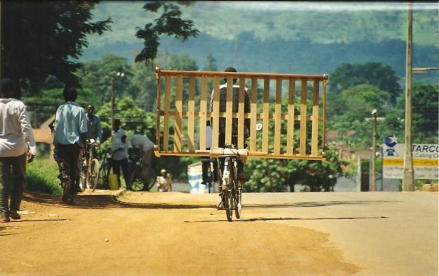 african transport showing a bed on a cycle