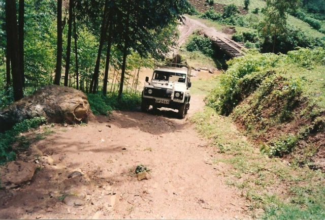 landrover driving up steep slope in mbale uganda