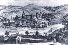 Zamek i kościół wg. XIX w. obrazu