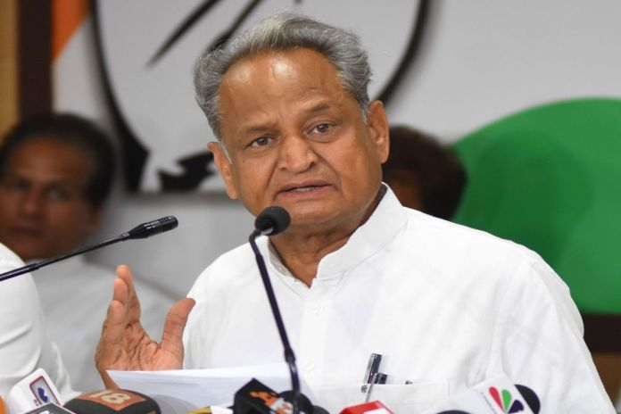 Jaipur: Rajasthan Chief Minister And Congress Leader Ashok Gehlot Addresses A Press Conference In Jaipur, On May 1, 2019. (photo: Ravi Shankar Vyas/ians)