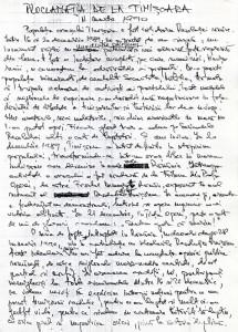 Proclamatia de la Timisoara