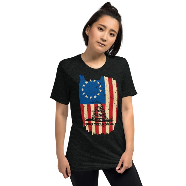 Betsy Ross Gadsden 13 Star American Flag T-Shirt | Political T Shirts, Gifts, and Gift Ideas for Republicans and conservatives | PoliticalGift.com