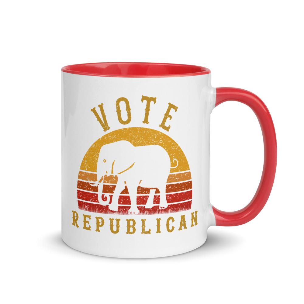 Vote Republican Coffee Mug with Color Inside | Original design, Retro vintage sunset style
