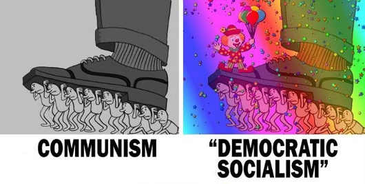 communism-vs-democratic-socialism-people-carrying-boot-party-clown