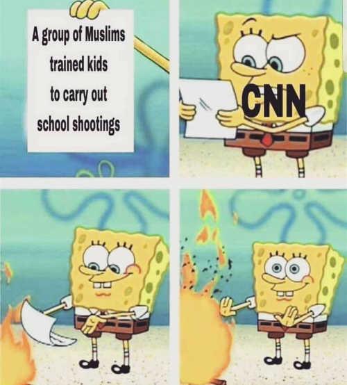 cnn-group-of-muslims-trained-kids-for-school-shootings-sponge-bob-burning