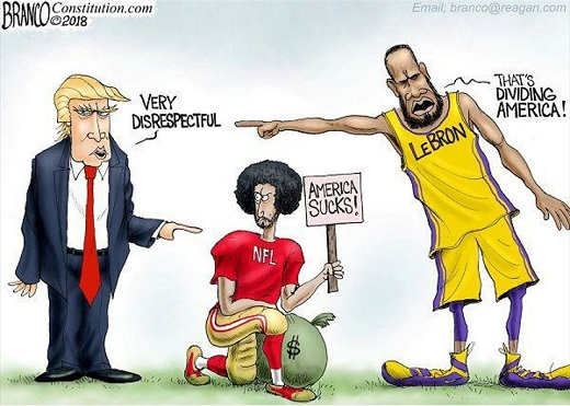 trump-very-disrespectful-kaepernick-america-sucks-lebron-dividing-america