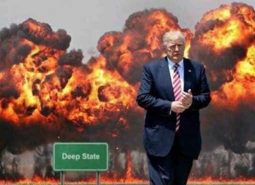 trump-deep-state-in-flames-walking-away