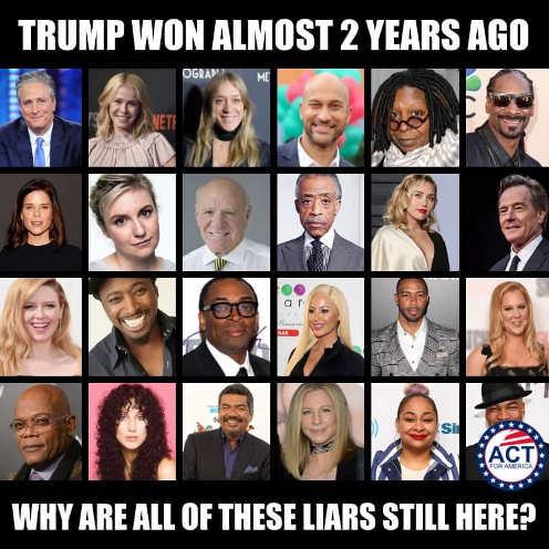 trump-won-2-years-ago-why-celebrity-liars-still-here-streisand-whoopi-jonathon-stewart-cher-amy-schumer-spike-lee