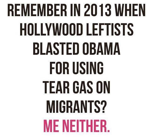 remember when hollywood liberals protested obama tear gassing immigrants me neither