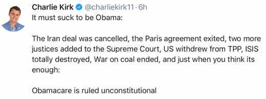 charlie kirk tweet obama legacy crumbling obamacare unconstitutional