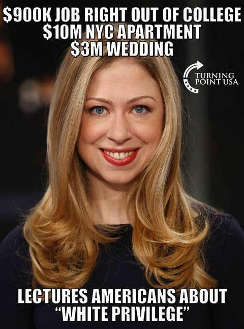chelsea clinton lectures americans about white privilege job apartment wedding