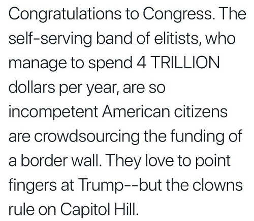 congratulations to congress elitists spend 4 trillion but so incompetent americans crowdsourcing wall