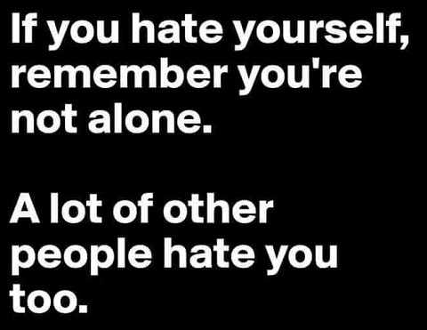 if you hate yourself remember youre not alone a lot of other people do too