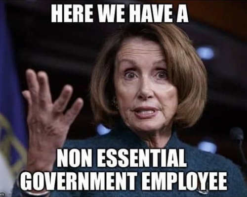 nancy pelosi here we have non essential government employee