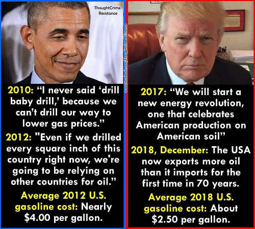obama trump comparison quotes on energy drill price of gasoline plummets