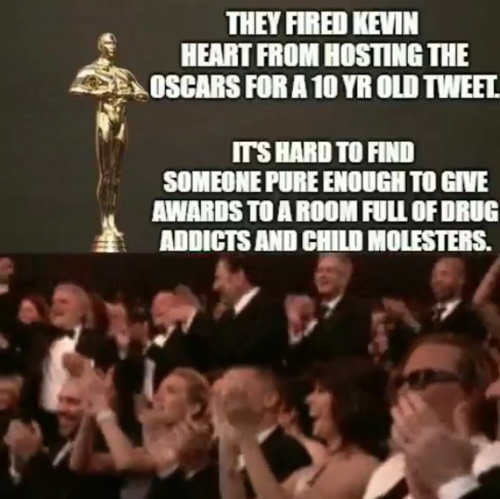 oscars fire kevin hart tough to find someone pure enough to present to child molesters and drug addicts