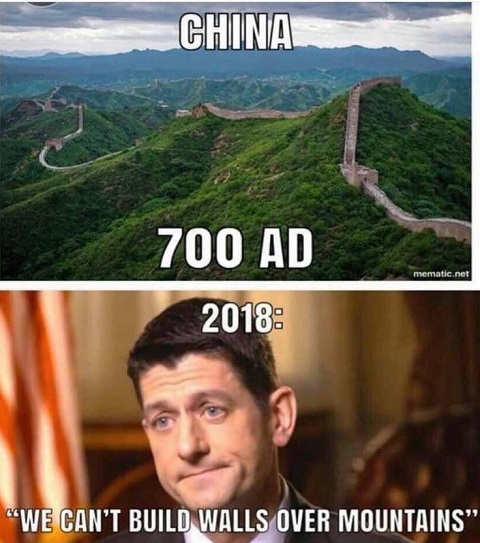 paul ryan we cant build walls over mountains china 700 ad
