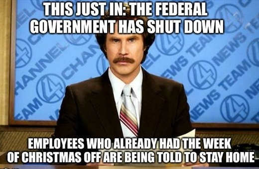 this just in federal government shut down employees whole have whole week off told to stay home