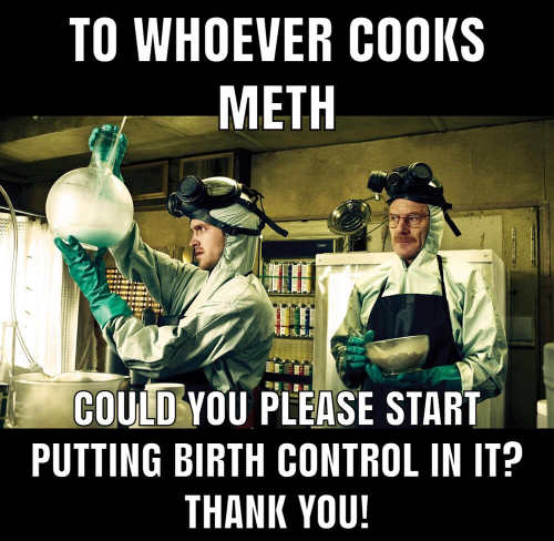 to whoever cooks meth please start putting birth control in