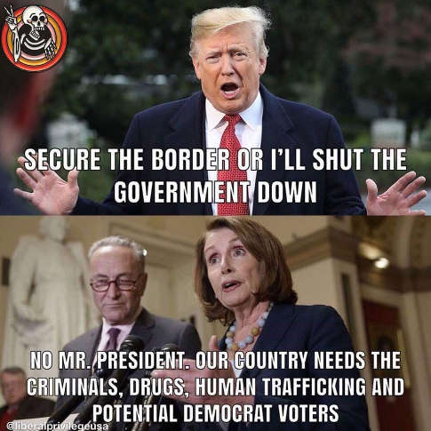 trump secure the border or ill shut the government down pelosi schumer no we need criminals drugs democrat voters