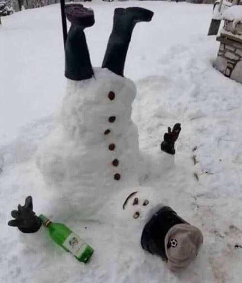 upside down drunk snowman bottle