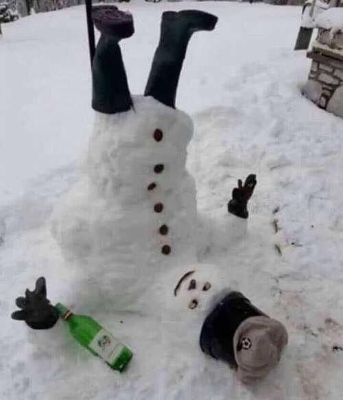 upside down drunk snowman bottle