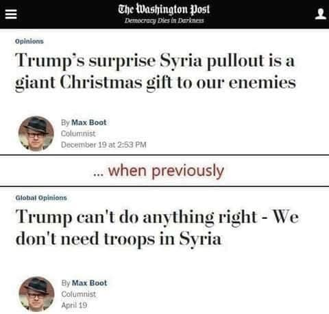washington post max boot syria pullout christmas gift to enemies dont need troops there