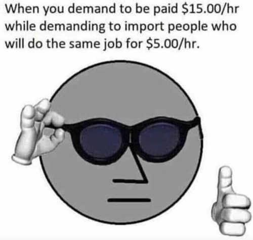 when you demand to be paid 15 dollars an hour while demanding import people who will work for 5