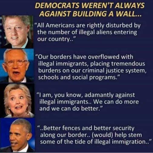 democrats quotes on immigration wall clinton obama hillary harry reid