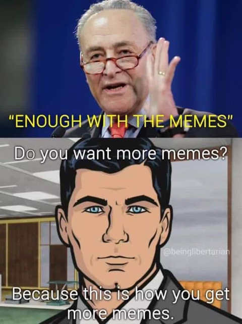 enough with the memes chuck schumer this is how you get more memes