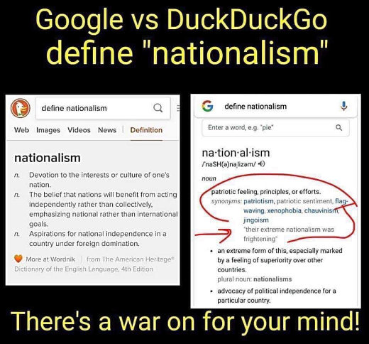 google vs duckduckgo definition nationalism extreme jingoism flag waving scary