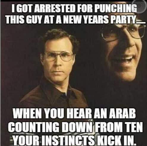 got arrested for punching an arab counting down from ten at party instincts kicked in