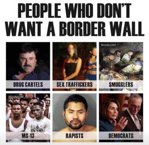 people who dont want border wall terrorists sex traffickers drug dealers democrats