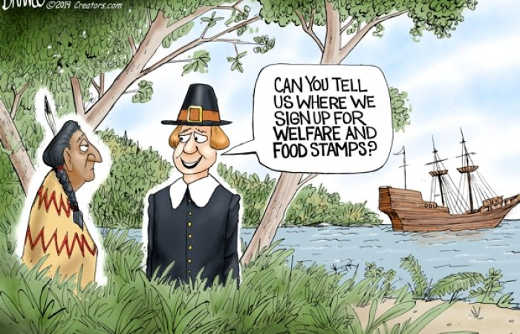 pilgrims landing asking indians can you tell us where we sign up for welfare and food stamps
