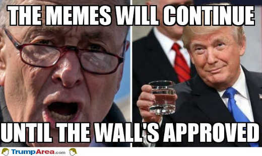 the meme will continue until the wall is approved trump schumer