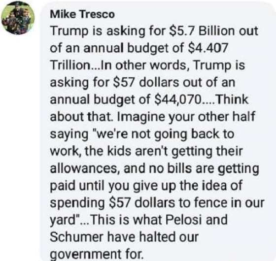 trump 57 dollars of 44070 budget pelosi schumer holding up work for that