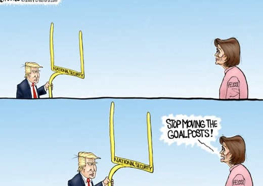 trump nancy pelosi stop moving goal posts closer national security