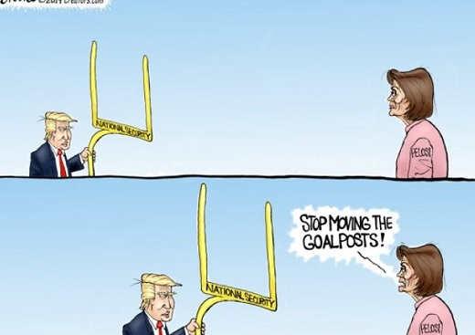 trump nancy pelosi stop moving goal posts closer national security