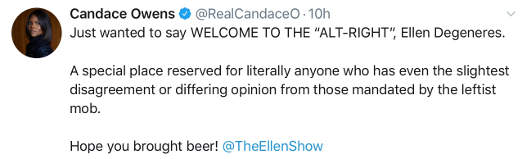 tweet candace owens elleg degeneres welcome to alt right