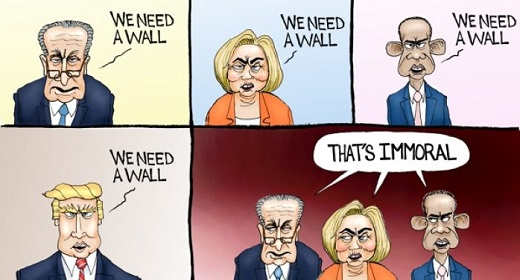 we need a wall schumer hillary clinton obama but trump immoral