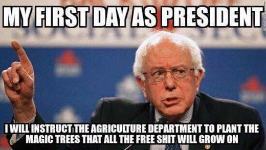 bernie sanders first day as president plant magic trees to grow all free shit
